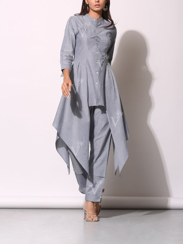 Grey Striped Printed Side Plaket Pant Set