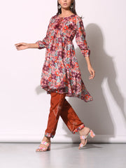 Rust Patola Printed Front Gathered Top With Pant