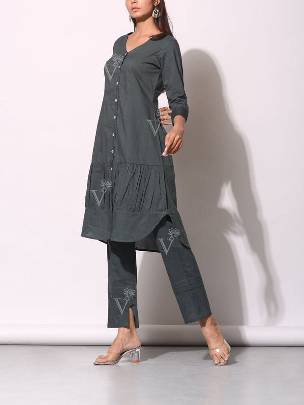 Iron Grey Button Down Gathered Shirt With Ankle Pant
