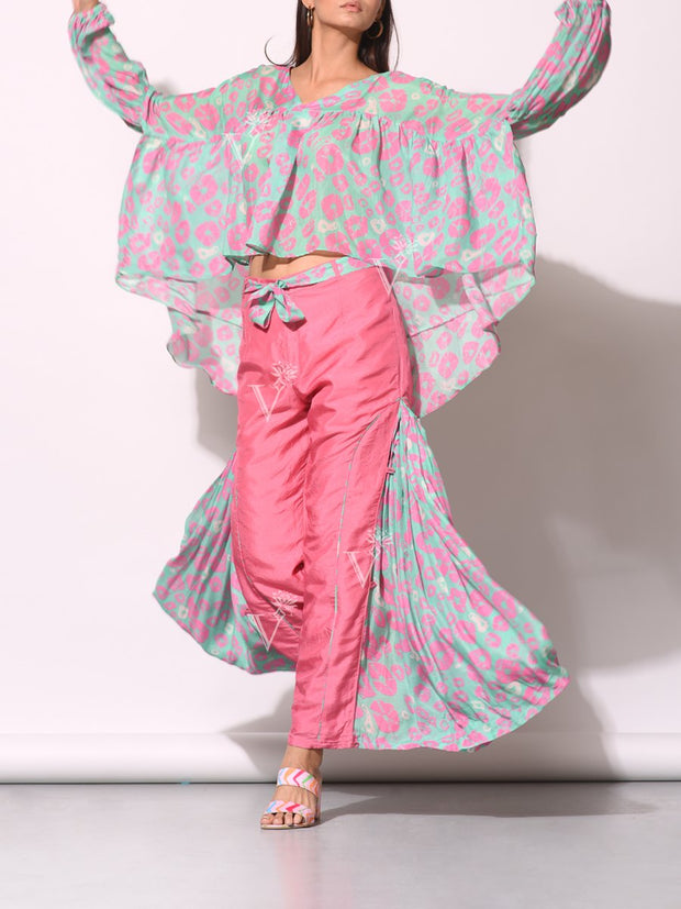 Aqua Pink High Low Bandhani Top With Statement Pant