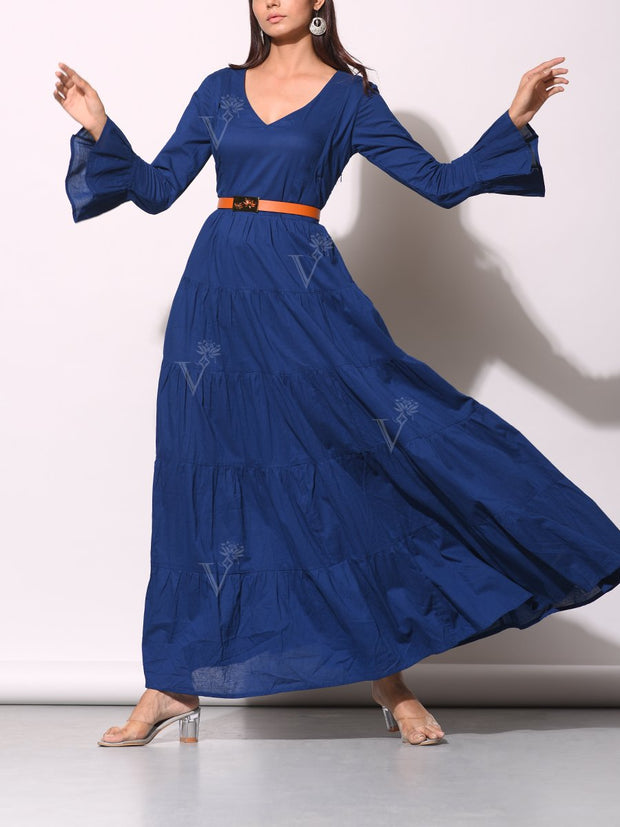 Rich Blue Tiered Maxi Dress