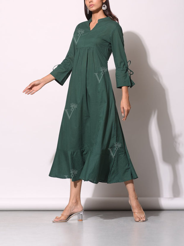 Bottle Green Front Gathered Cotton Tunic