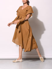 Camel Brown Front Tie-up Diagonal Cut Tunic