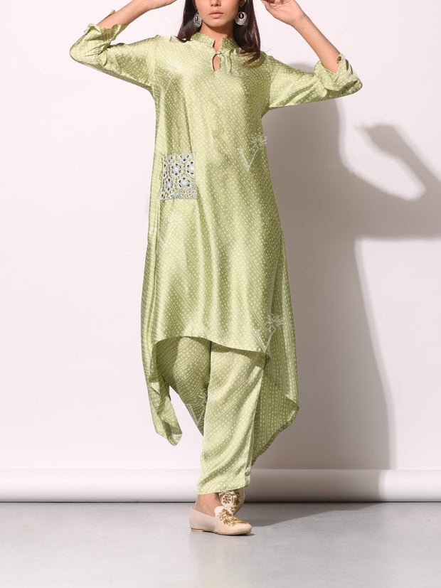 Mint Green Bandhani Printed Kurta Set With Embellished Pocket