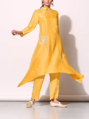 Mango Yellow Bandhani Printed Kurta Set With Embellished Pocket