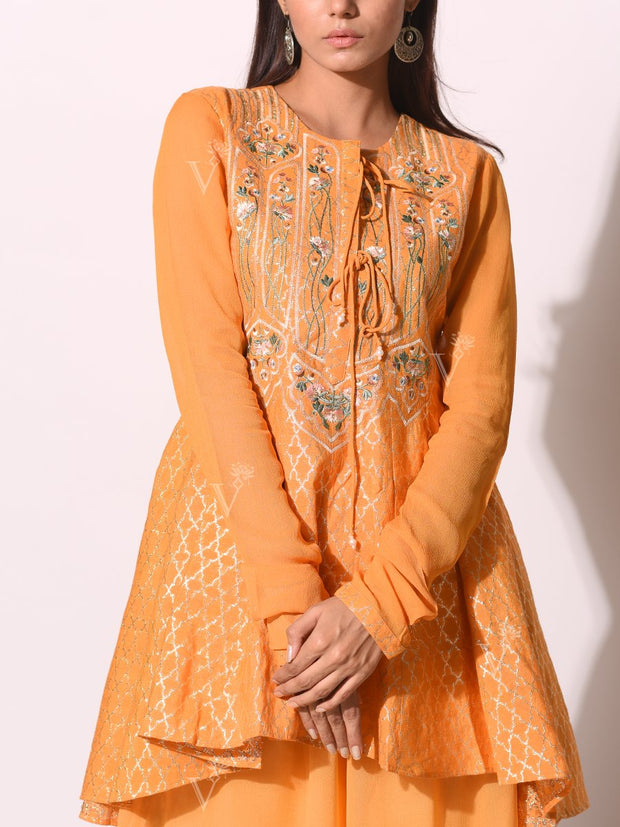 Yellow Embroidered Weaving Top With Sharara