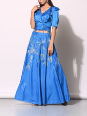 Cobalt Blue Embroidered Co-ord With Angrakha Crop Top