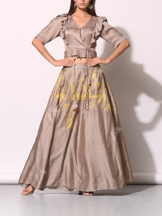 Beige Embroidered Co-ord With Angrakha Crop Top