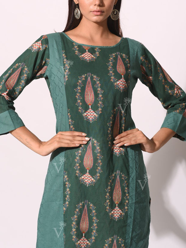 Bottle Green Cotton Printed Kurti