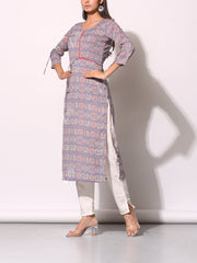 Light Purple Cotton Printed Kurti