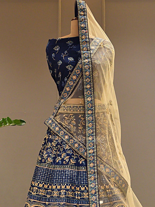 Blue Silk Pearl Brush Lehenga