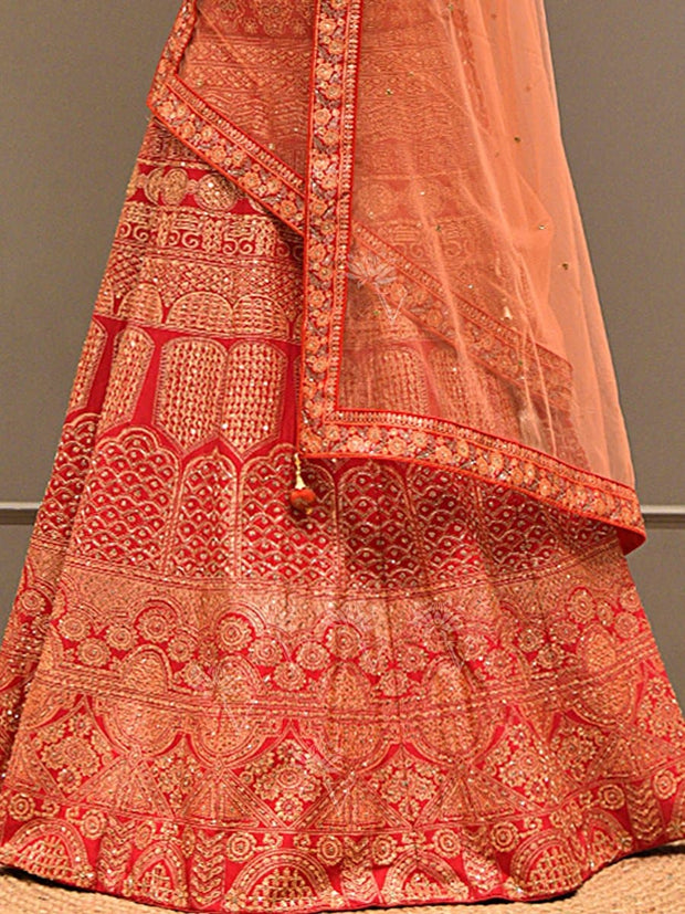 Red Silk Pearl Brush Lehenga