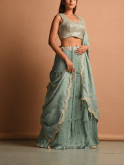Spanish Blue Wrinkle Crepe Lehenga Set
