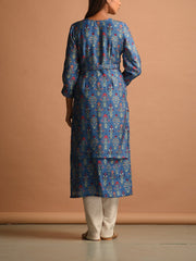 Blue Muslin Printed Straight Kurti