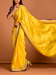 Yellow Satin  Saree