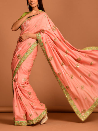 Peach Embroidered Silk Saree