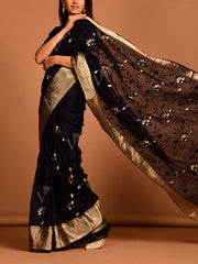 Dark Blue Organza Saree