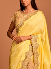 Shaded Yellow Silk Weaving Saree