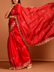 Red Organza Saree