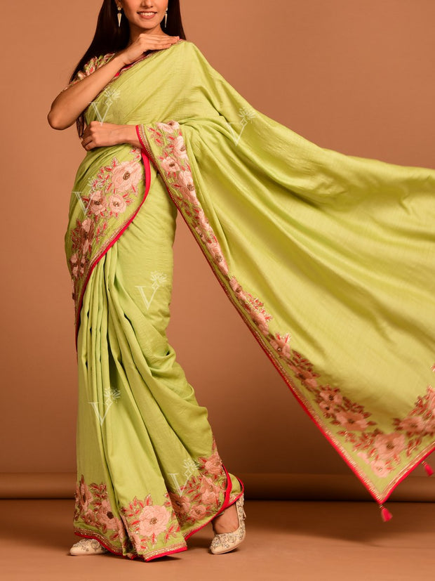 Pista Green Silk Saree