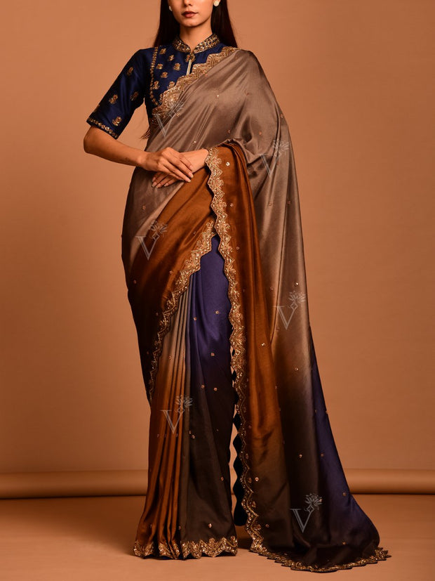 Blue Brown Silk Saree
