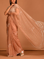 Old Rose Organza Saree