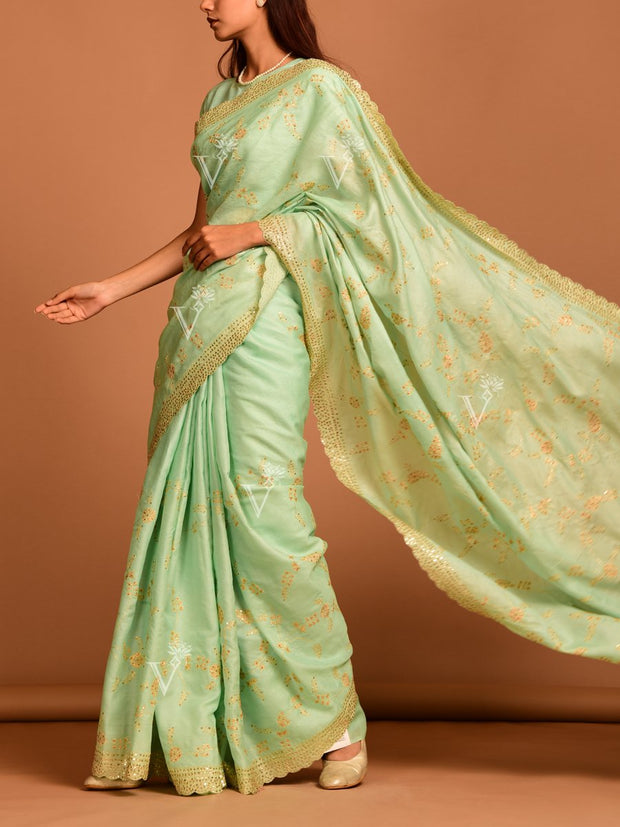 Aqua Blue Tussar Saree