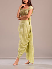 Olive Green Dhoti Set With Embroidered Top and Cape