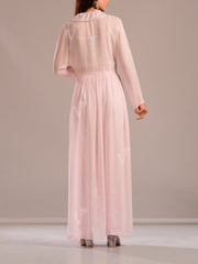 Baby Pink Dhoti Set With Embroidered Top And Ruffle Cape