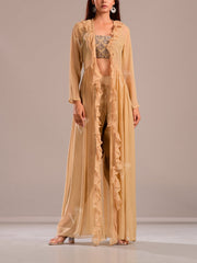 Golden Brown Dhoti Set With Embroidered Top And Ruffle Cape