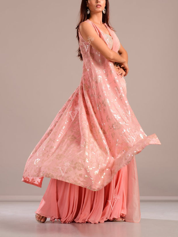 Peach Pre Drape Saree With Organza Cape