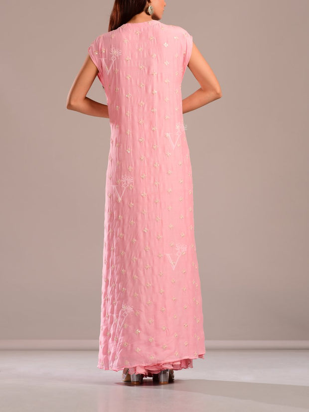Baby Pink Palazzo Set With Embroidered Top And Cape