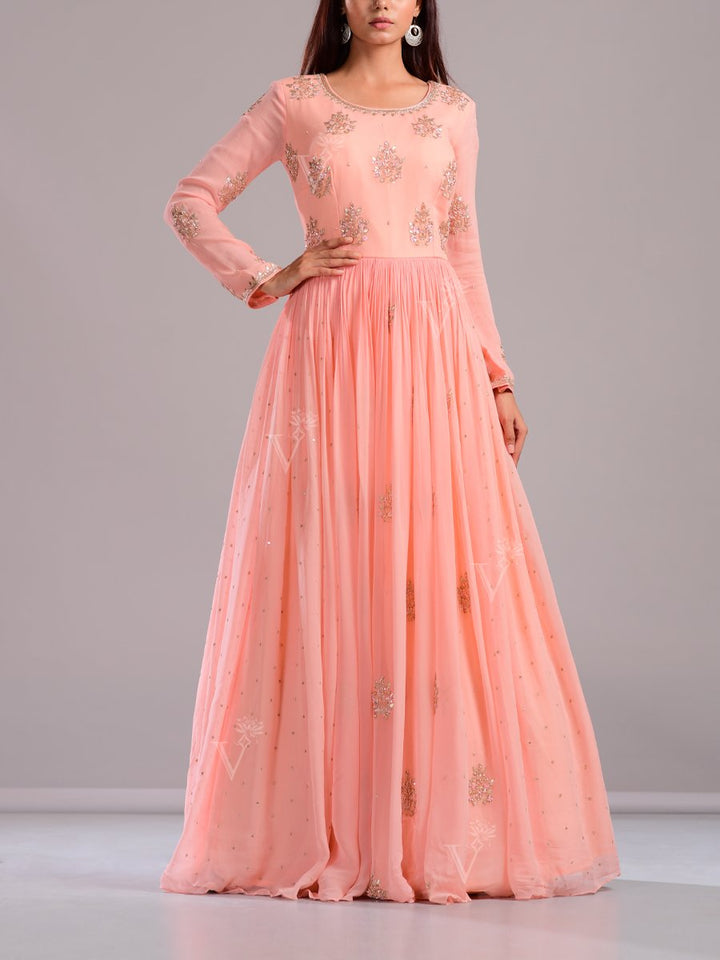 Anarkali suits Online:Baby Pink Anarkali Suit Decorated with Gota Patti, Cut Daana & Sequence