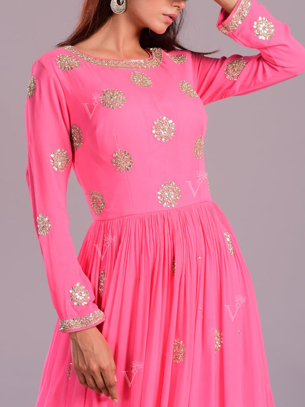 Pink Embellished Georgette Anarkali Gown