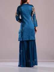 Cobalt Blue Embroidered Sharara Suit Set