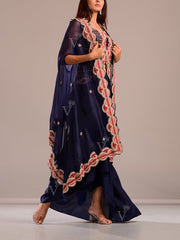 Dark Blue Draped Skirt With Embroidered Top And Cape