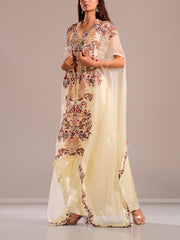 Off White Draped Skirt With Embroidered Top And Cape