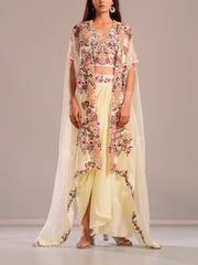 Indo Western, Fusion wear, Festive wear, Party wear, Designer wear, Evening wear, Organza, Silk, Embroidered, Sequence, Cape, Jacket