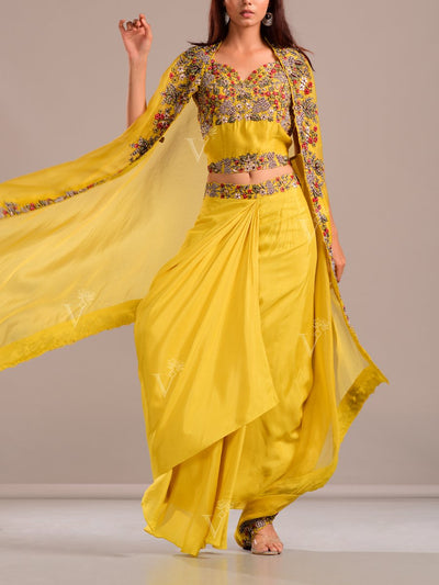 Mehendi Yellow Draped Skirt With Embroidered Top And Cape