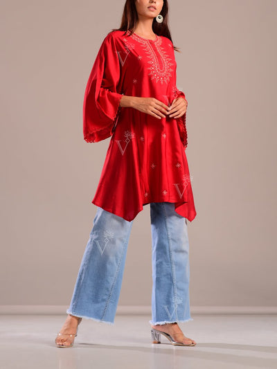 Brick Red Embroidered Kaftan Tunic