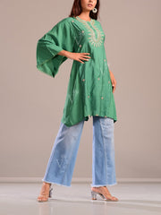 Sea Foam Green Embroidered Kaftan Tunic