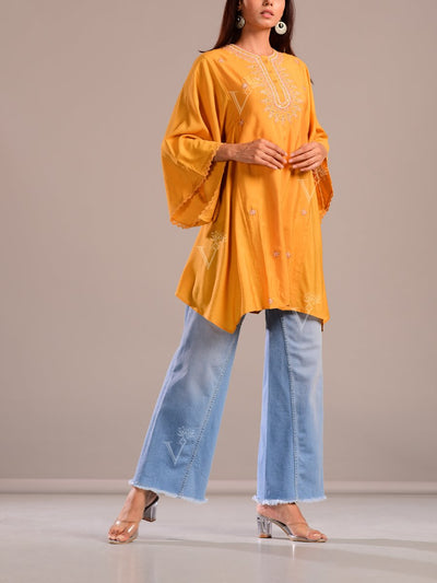Turmeric Yellow Embroidered Kaftan Tunic