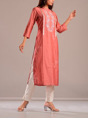 Rose Pink Kurti With Embroidered Bodice