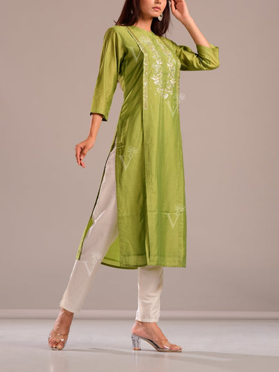 Green Kurti With Embroidered Bodice