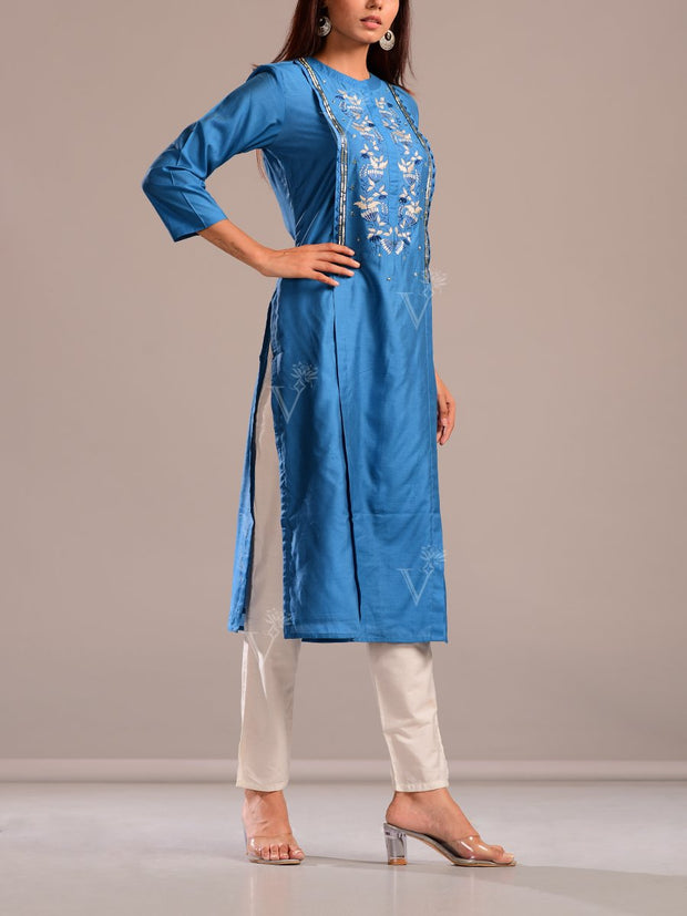 Cobalt Blue Kurti With Embroidered Bodice