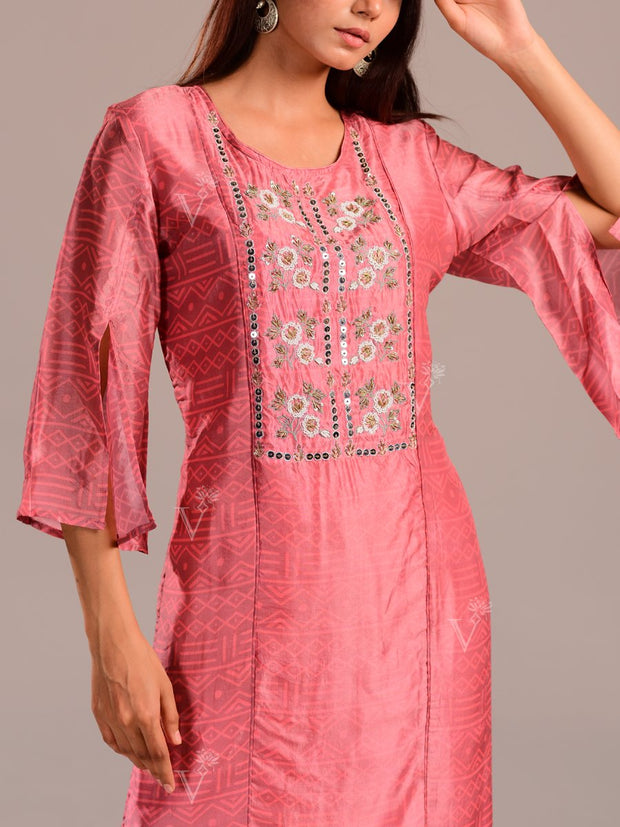 Peach Printed Kurti With Embroidered Bodice