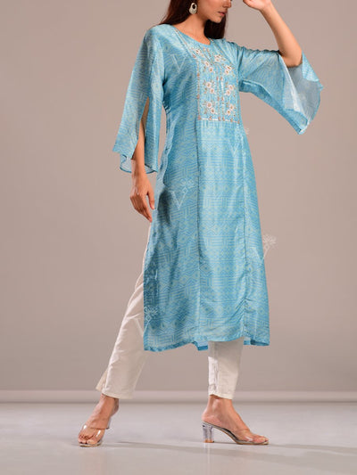Turquoise Printed Kurti With Embroidered Bodice