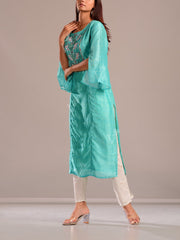Sea Green Printed Kurti With Embroidered Bodice