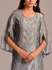 Greenish Grey Printed Kurti With Embroidered Bodice