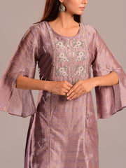 Purplish Grey Printed Kurti With Embroidered Bodice